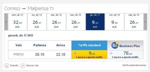voli low cost Ryanair a Milano Malpensa per Comiso