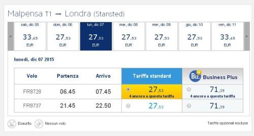 voli low cost Ryanair a Milano Malpensa per Londra