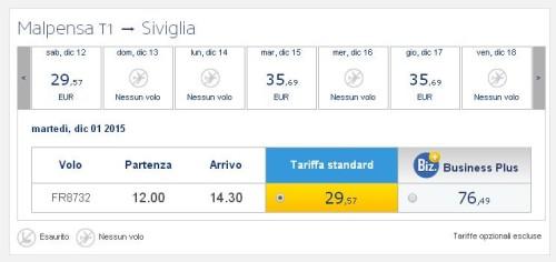voli low cost Ryanair a Milano Malpensa per Siviglia
