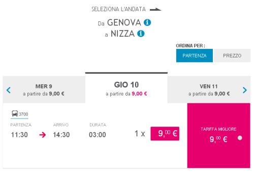Biglietti autobus low cost per Nizza