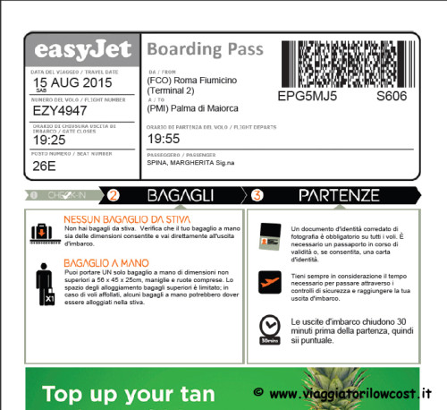 stampa carte di imbarco easyJet check-in online