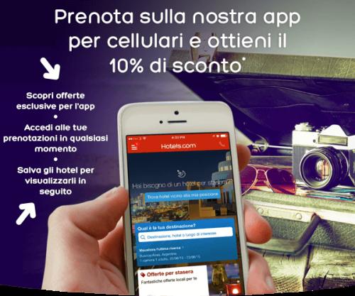 codice sconto Hotels.com con app mobile