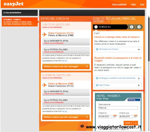 come fare check-in online Easyjet per i passeggeri