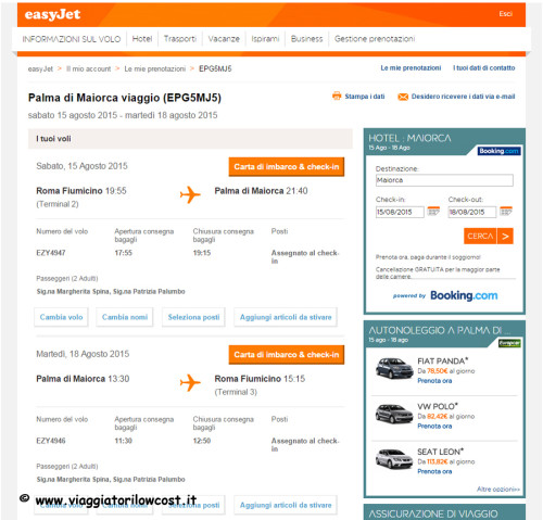 come fare check-in online Easyjet