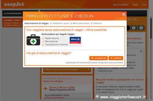 fare check-in online Easyjet e assicurazione viaggio