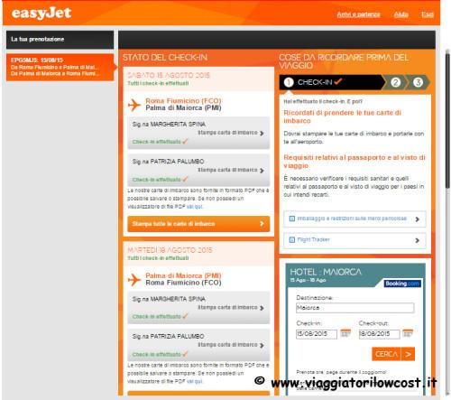 fare check-in online Easyjet e carte di imbarco