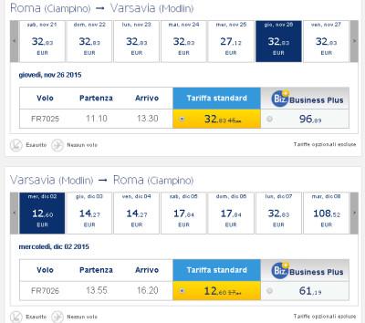 Voli low cost Ryanair per Varsavia