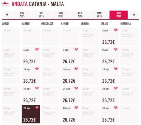 tariffe voli low cost Catania Malta di Volotea