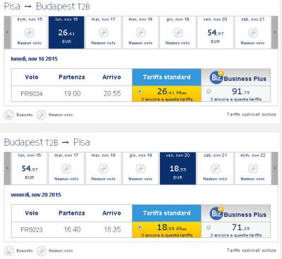 Voli low cost Ryanair per Budapest