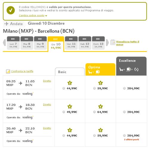 Yellow Friday sui voli Milano Barcellona