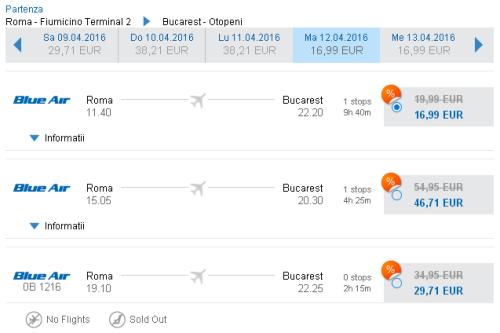 Voli low cost Roma Bucarest in promozione