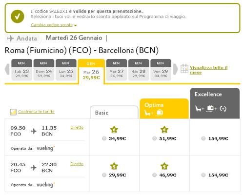 voli low cost Roma Barcellona di Vueling