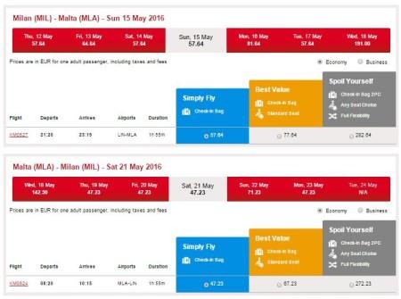 voli low cost per Malta da Milano estate 2016
