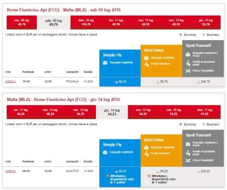 voli low cost per Malta da Roma estate 2016