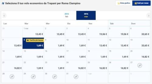 Voli a 1€ di Ryanair per Roma Trapani