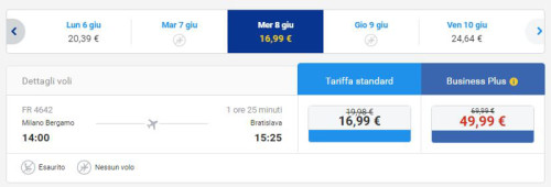 Voli low cost Ryanair per Bratislava da Bergamo