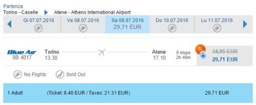 voli low cost Torino Atene Blue Air