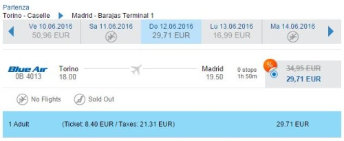voli low cost Torino Madrid Blue Air
