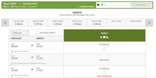 voli Alitalia Roma Madrid con sconto famiglia