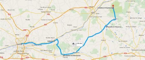 Mappa itinerario del tour castelli della Loira