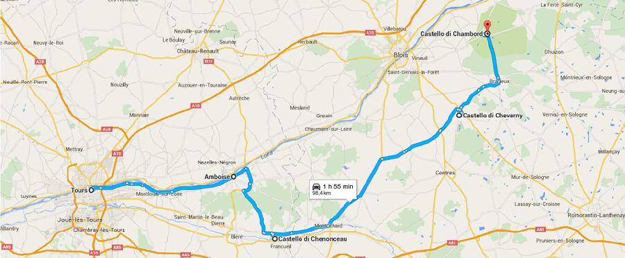 Cartina Geografica Della Loira Francia.Castelli Della Loira Un Itinerario Di 4 Giorni On The Road Viaggiatori Low Cost